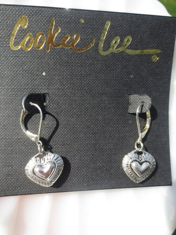 Vintage Earrings Heart Silver Cookie Lee