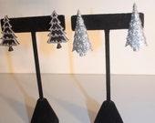 Modern Christmas tree black and silver stud earrings set