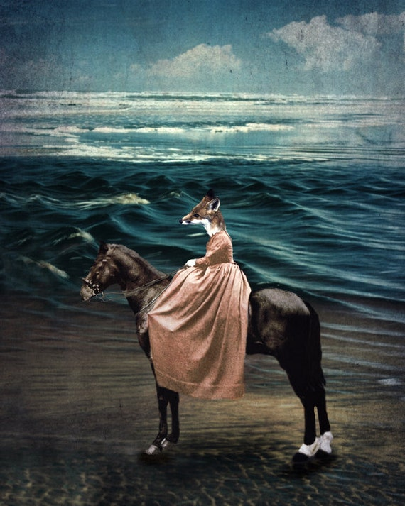 Fox Print Art Animal Photography Portrait Teal Art for the Nursery Horse Art The Lonely Pixel Print - The Fox and the Sea