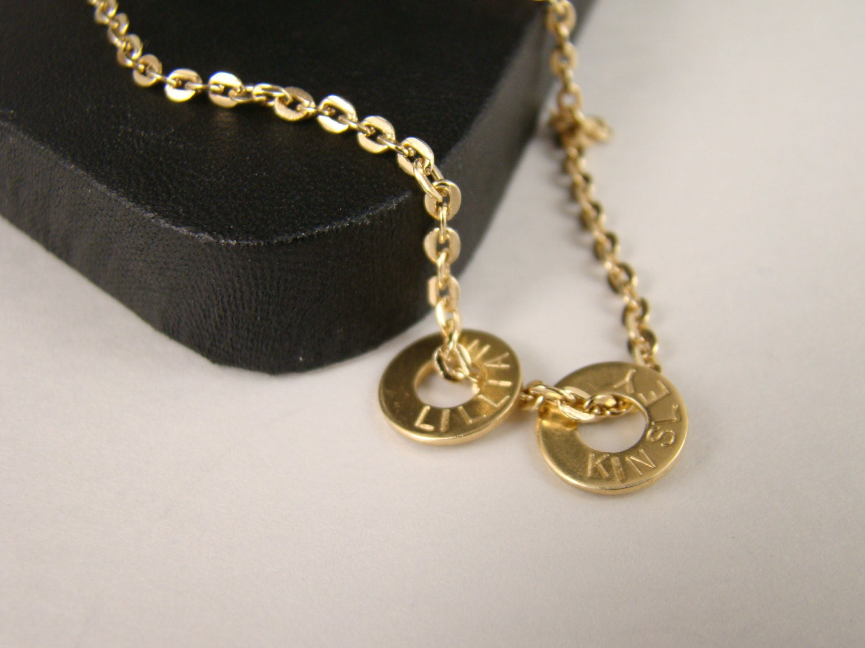 personalized gold washer necklace engraved necklace. Black Bedroom Furniture Sets. Home Design Ideas