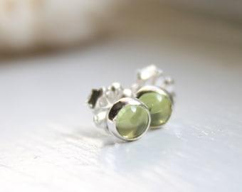 Tiny Peridot Earrings Studs, August Birthstone Ear Studs