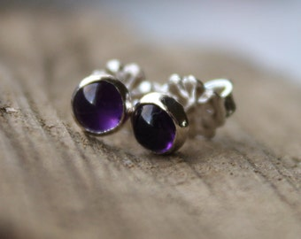 Tiny Amethyst Earrings Studs