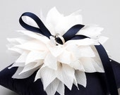 Navy blue ring pillow, wedding ring holder, ring pillow bridal, wedding decor - Lydia