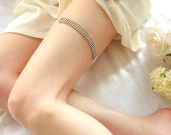 Silver crystal garter, chain garter, modern wedding garter belt - style 414