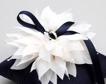 Navy blue ring pillow, wedding ring holder, ring pillow bridal, wedding decor - Lydia