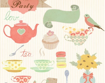 Instant Download - Tea Party: Digital Clipart Set