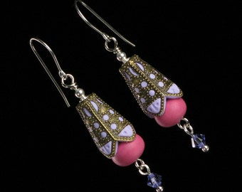 Unique Pink Filigree Dangle Earrings - Polymer Clay Brass Earrings - Pink Boho Earrings - Unique Jewelry Gift for Her - Valentine's Day