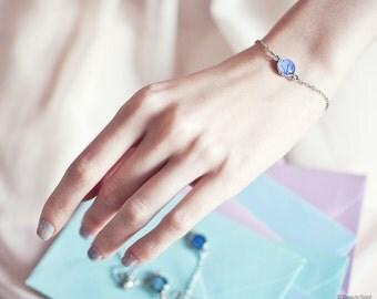 Blue charm bracelet - Tiny charm bracelet - Blue Hydrangea jewelry - Blue Bridesmaid Bracelet - Blue Flower bracelet (BT030-32)