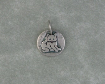 Kitten cat fine silver tiny pendant charm DTPD PMC