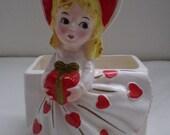 SALE Vintage RELPO LADY Heart Valentine Planter Head Vase Love Headvase