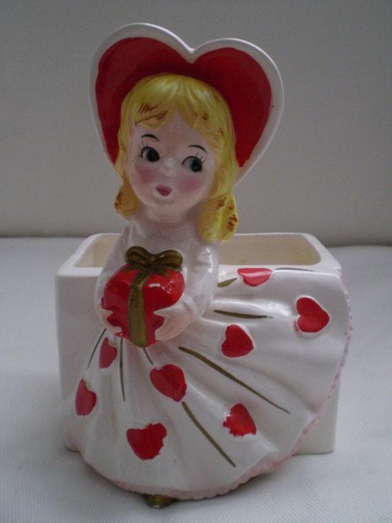 Sale Vintage Relpo Lady Heart Valentine Planter Head Vase Love