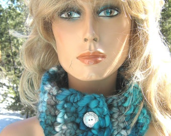 Cowl/Neckwarmer Shades of Teal Crocheted Wool Blend Thick