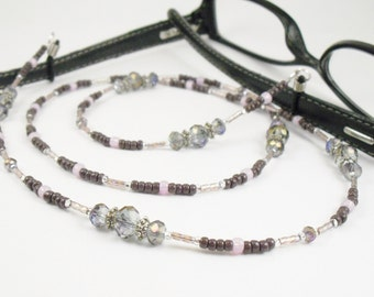 Purple Sparkly Crystal Glass Eyeglass Lanyard, Eyeglass Leash/Necklace