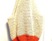 Crochet Beach Bag in Sand and Coral Oversize Crochet Cotton Tote Bag