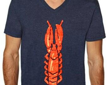 lobster t shirt - lobster shirt - mens tshirts - lobster fabric - nautical shirt - beach shirt -surf shirt - surf tshirt-LOBSTER-sport vneck
