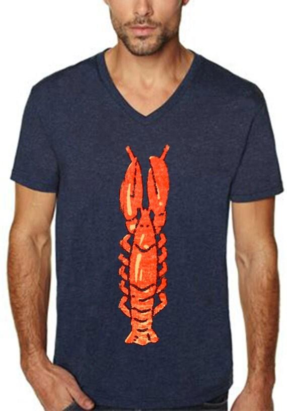 lobster shirt - beach shirt - vintage design LOBSTER t-shirt - v-neck midnight navy blue men's vintage t-shirt