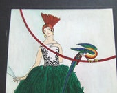 Humorous Watercolor Woman with Scissors Seeks Feathers