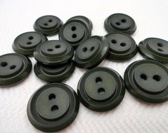 French Vintage Buttons - 6 Mid Century Charcoal Gray