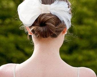 Laela Hair Adornment with silk petals, feather, lace - ready to ship