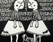 """Linocut Print """"Sisters"""""""