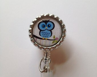 Retractable Id Badge Reel, Bottle Cap Id Holder, Owl Badge Reel, Owls,  Nurse Id Reel, Glitter Badge Reel, Id Reel Name Badge Holder, Owl Id