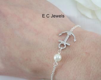 Anchor, Pearl Bracelet - Pick your Color