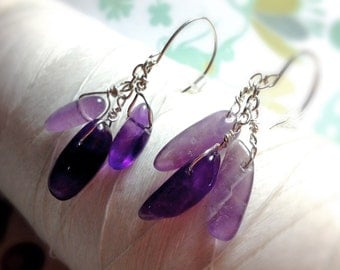 Fruits of Your Labor - amethyst earrings / purple earrings / cluster earrings / raw amethyst / amethyst jewelry / sterling silver