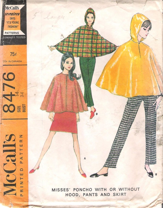 Vintage 1960's Mod Poncho, Pants and Mini Skirt, McCall's Sewing Pattern 8476, Size 14