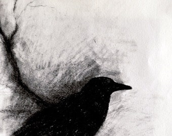 "Original Charcoal Drawing Crow on a Branch Dark Halloween Gothic Art  6x8"""