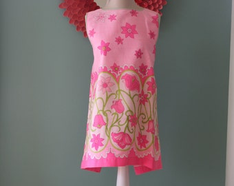 Vintage 1960's Hot Pink and Lime Green Floral Apron with Tie Back