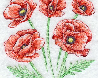 Sketched Poppies Embroidered Terry Kitchen Towel Bathroom Hand Towel