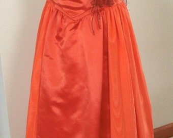 Watered Taffeta or Moire Delicious Orange4pc Gown Corset Tie Top Matching Bustle Bow & Scarf