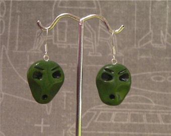Alien head Earrings - polymer clay