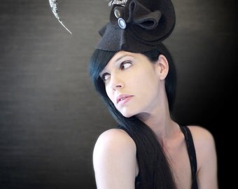 Black Felt Avant Garde Sculptural Hat/Fascinator - Made to Order