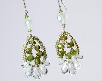 Aquamarine and Peridot Chandelier Earrings on Sterling Silver Ear French Wire