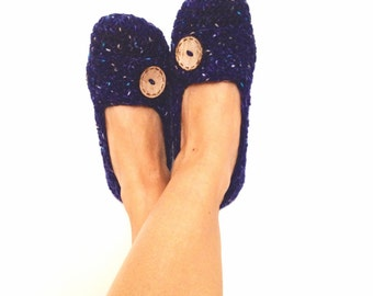 Dark Blue Navy Crochet With Natural Button  Womens Slippers, Ballet Flats, House Shoes