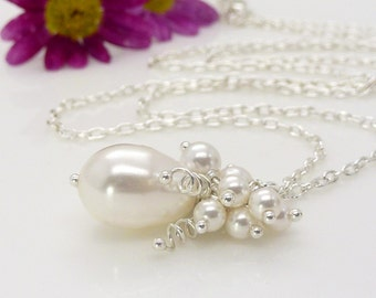 White pearl cluster necklace, Wedding jewellery, White pearl necklace, Swarovski wedding necklace, Sterling silver bridal jewellery