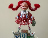 Whimsical Valentine Holiday Red Headed Pixie Collectible