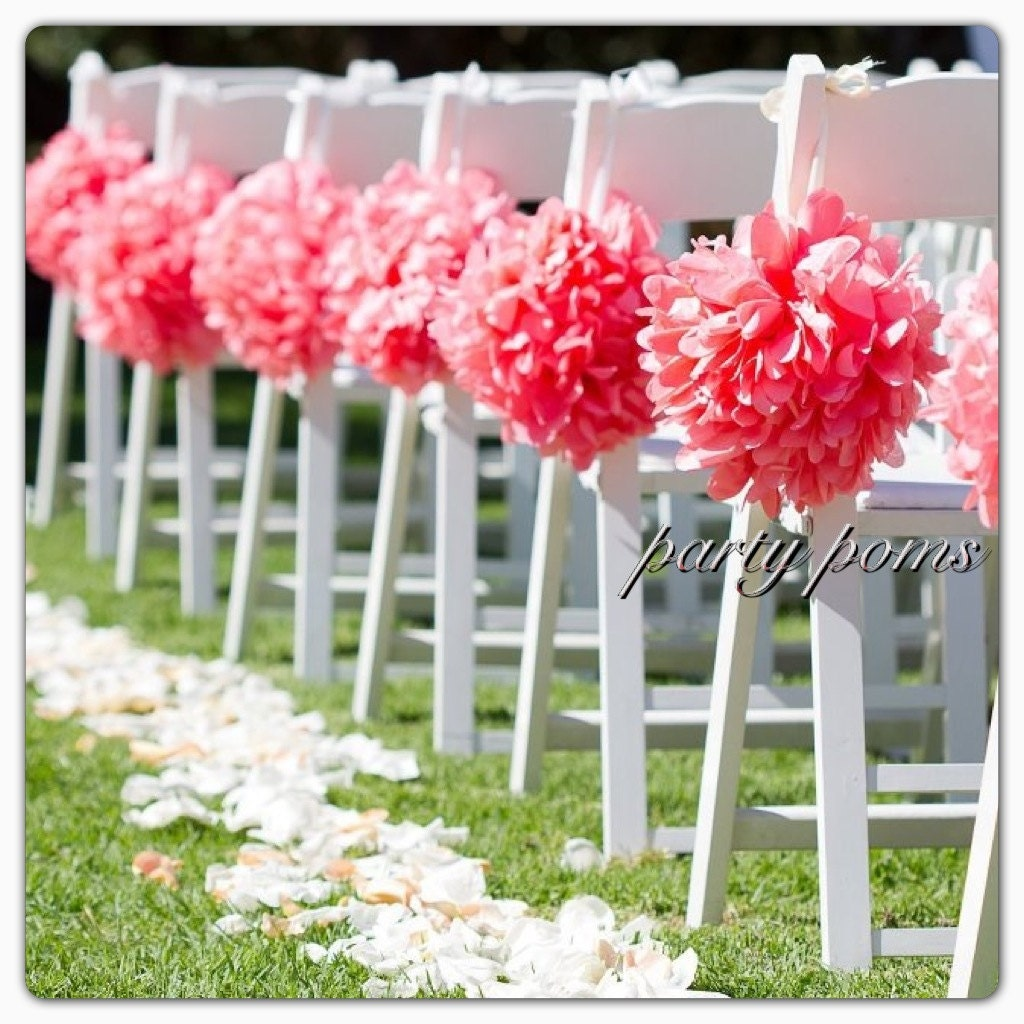 Wedding ceremony decoration aisle decor 9 inch tissue for Aisle decoration for wedding