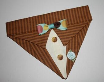 Brown Pinstripe Suit Collar Bandana Sz XS S M