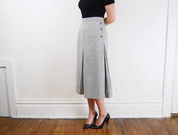 1970s Grey Wool Skirt - M
