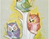 Owl Trio - K Chin Lithograph 1970s