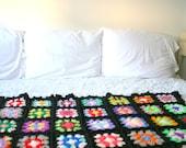 Beautiful Vintage Granny Squares Afghan Trow Blanket