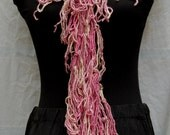 50% Off Valentine Day Sale One Day Only Shades of Pink & Off White Silk Handmade Loopy Crochet Scarf