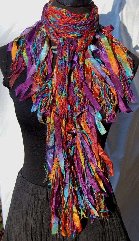 Kaleidoscope Multi Color Jewel Tones Handmade Crochet Scarf