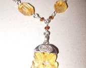 Carved Citrine Pendant