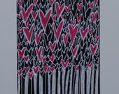 Aceo Original Abstract Hearts Drawing Ink Glitter on Cardstock Sized 3.5x2.5  Heather Montgomery Art