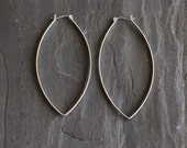 """Sturdy sterling silver hoops with a twist designed to stand out with its modern leaf like shape and larger size - """"Porter Hoop Earrings"""""""