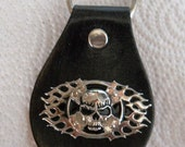 Leather Keychain with Skull Cross Flame Concho