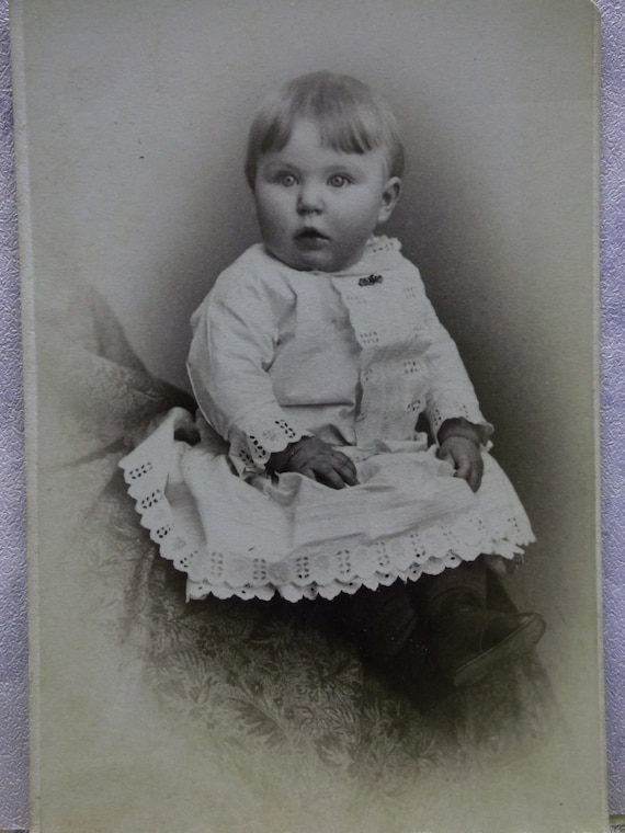 Adorable Baby Boy In Lacy White Dress Antique Cdv Photo